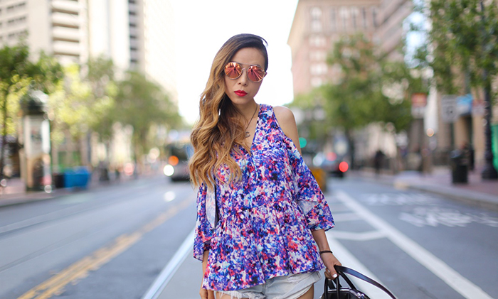 rebecca minkoff gabby top, floral off shoulder top, one teaspoon shorts, jeffrey campbell wedge sandals, givenchy antigona, quay sunglasses, chanel necklace, san francisco street style, san francisco market street, nordstrom anniversary sale, nordstrom anniversary sale early access, the best sales