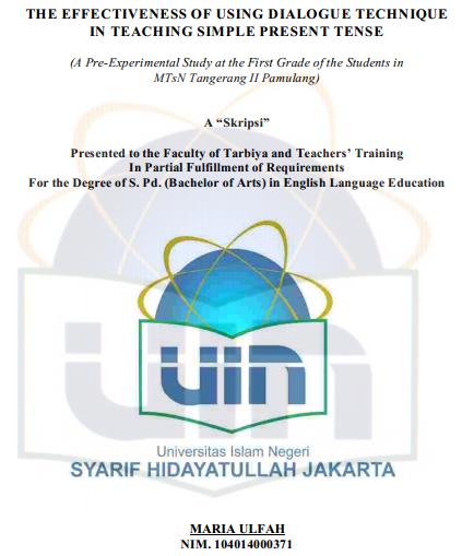 Englishahkam Skripsi Gratis Using Dialogue Technique In Teaching Simple Present Tense