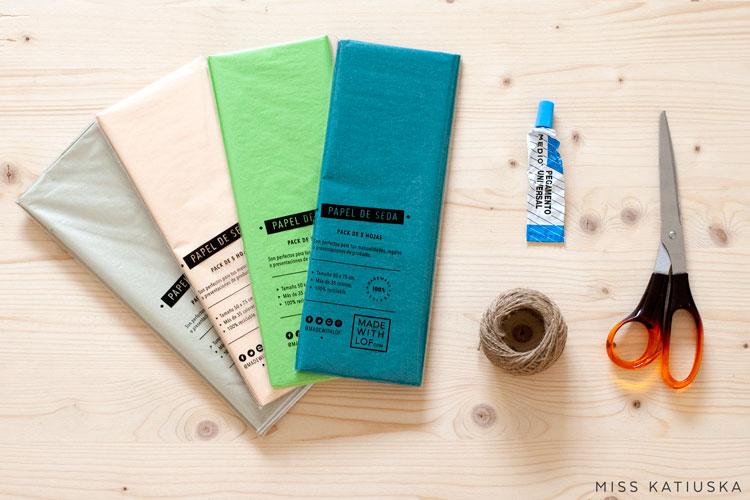 materiales guirnalda papel de seda diy