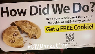 Subway restaurants uses QR Codes to offer a free cookie for taking their survey