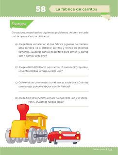 Apoyo Primaria Desafíos matemáticos 3ro Grado Bloque IV Lección 58 La fábrica de carritos