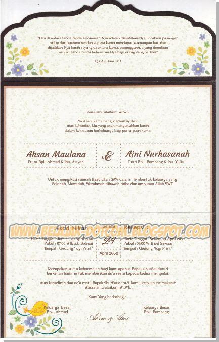 Contoh Undangan Pernikahan Simpel dan Elegan ERBA 88188 ...