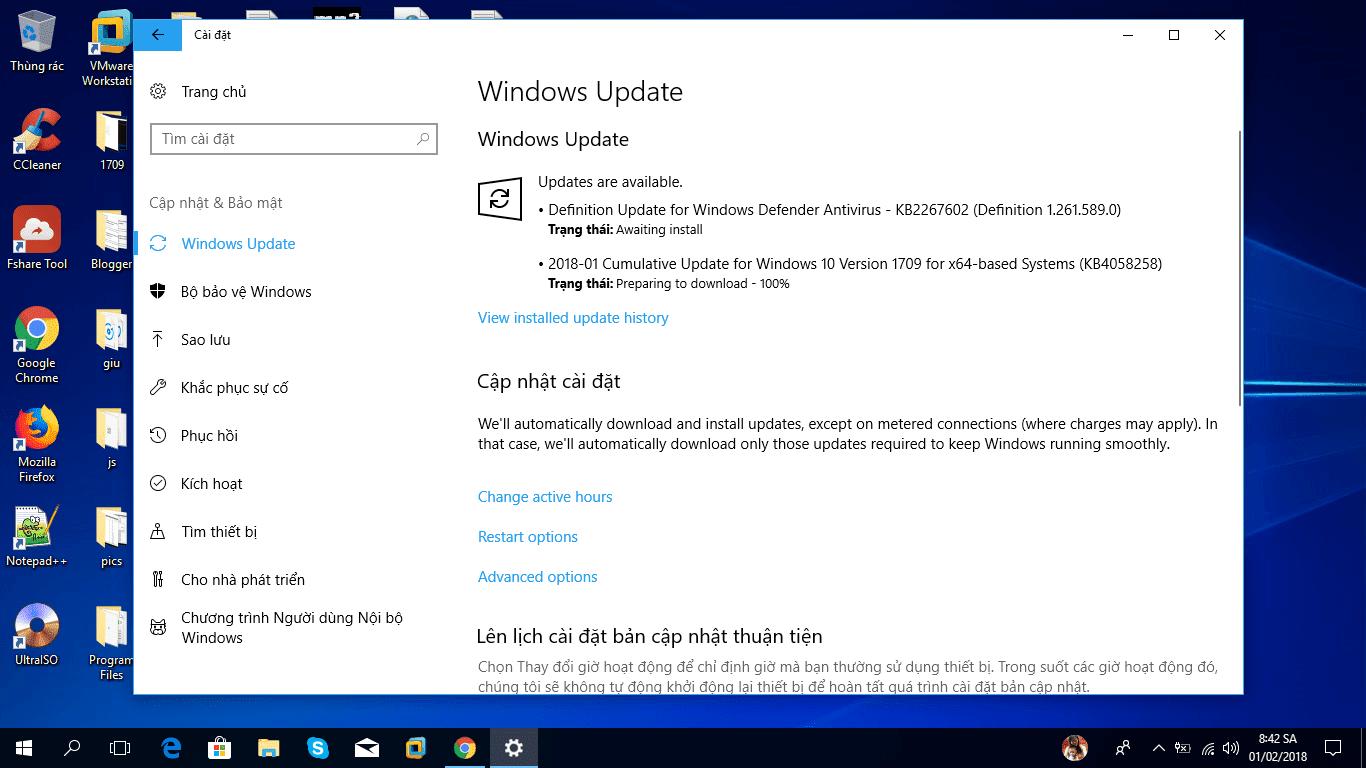 Cập nhật 31 tháng 1, 2018 - KB4058258 cho Windows 10 Phiên bản 1709 (OS Build 16299.214)