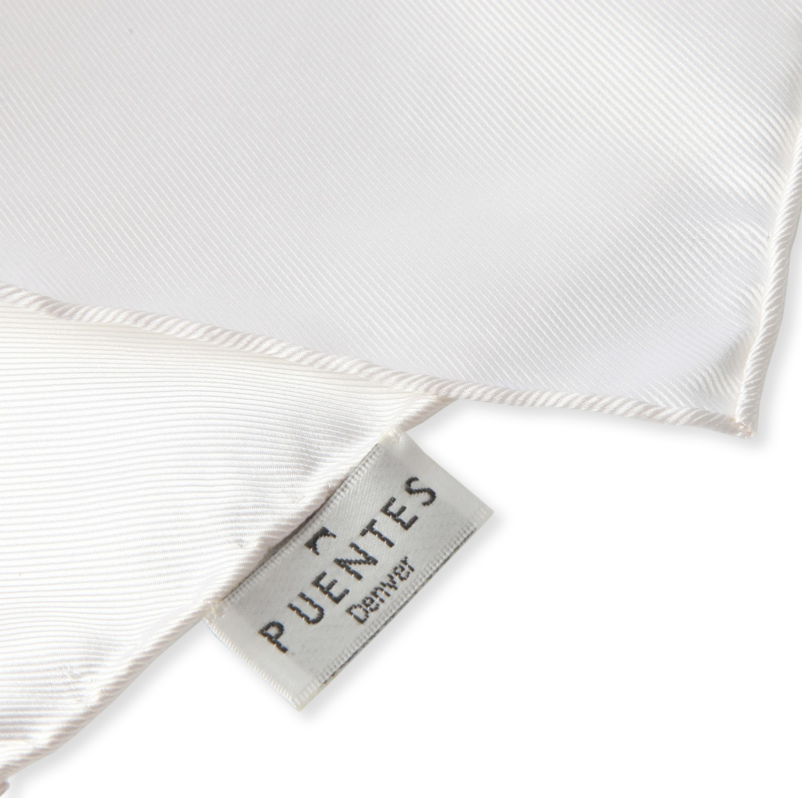 5979be664ce2 Simple Savings  100% Silk Twill White Pocket Square from Puentes ...
