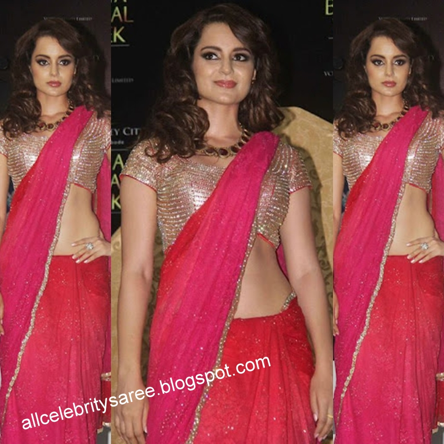 c10c033606ab0 Bollywood Celebrity Kangana Rounath with Pink plane with small golden color  chemkey work border designer saree and golden color all over beats work  designer ...