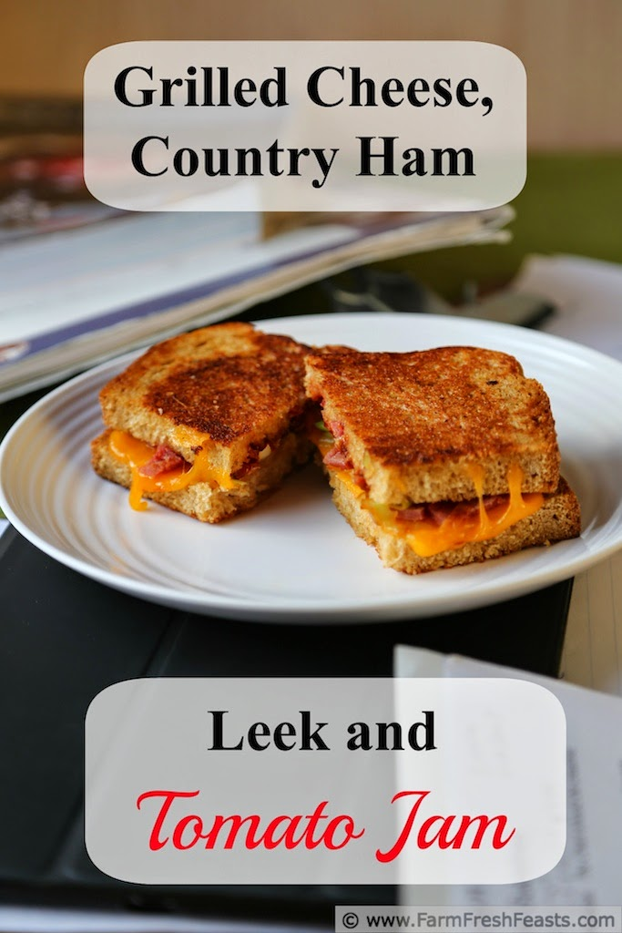 Sweet and salty, tangy and gooey, this grilled cheese sandwich with country ham, leeks, and tomato jam hits all the right notes.