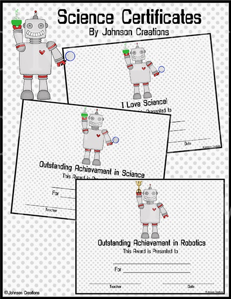 Johnson Creations: Cute Robot Science Certificates!