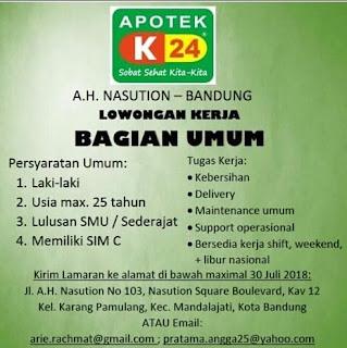 Lowongan Kerja Apotek K24 Bandung Terbaru 2020