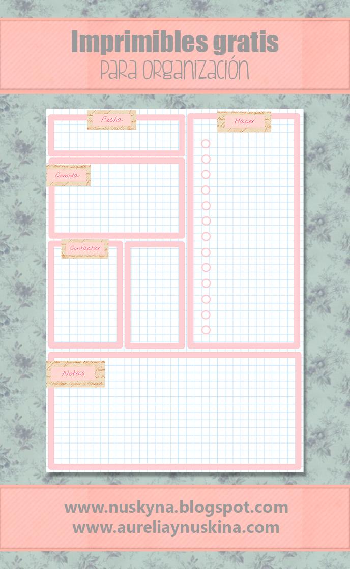 Descargables gratis para organización, planning diario y muchos más imprimibles.