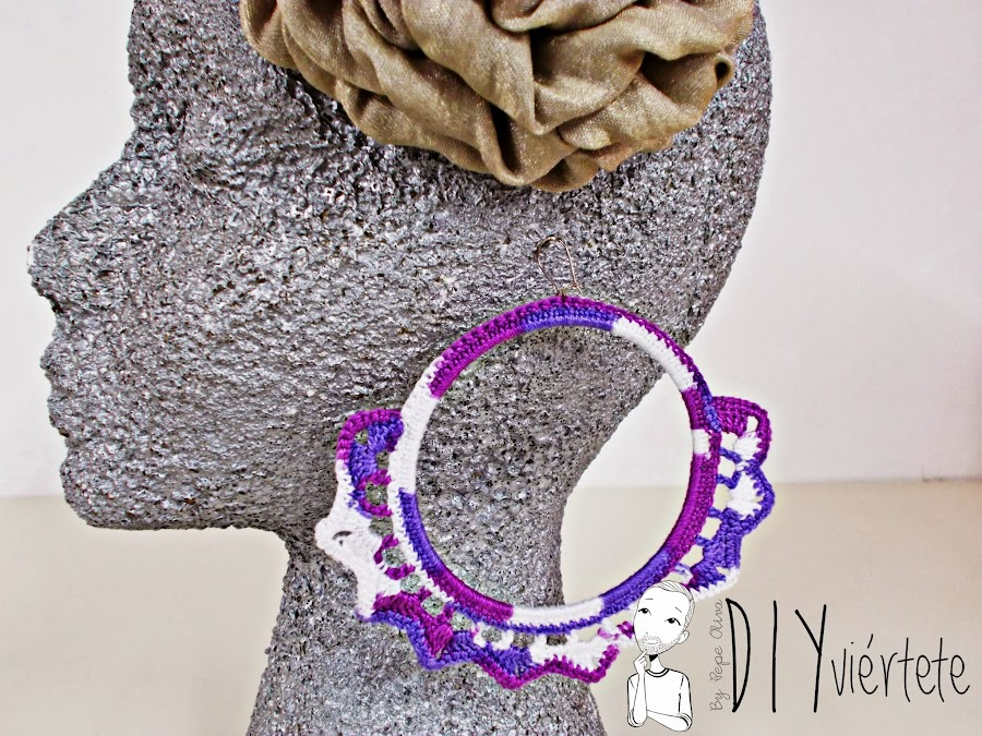 DIY-zarcillo-pendiente-bisutería-ganchillo-crochet-flamenca-Diyviértete