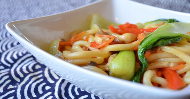 Udon Stir Fry With Bok Choy And Vegetables Recipe