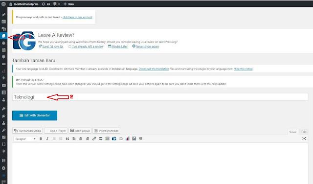 Membuat halaman statis di Wordpress