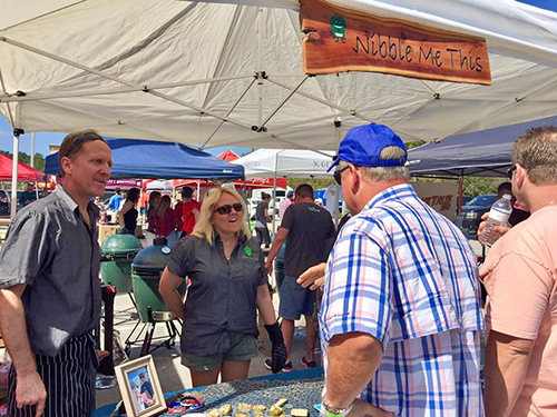 Talking with guests at the North Florida Big Green Egg Eggfest 2017