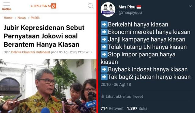 Jubir Kepresidenan Sebut Pernyataan Jokowi soal Berantem Hanya Kiasan, Warganet: Janji-janji Jokowi Juga Cuma Kiasan