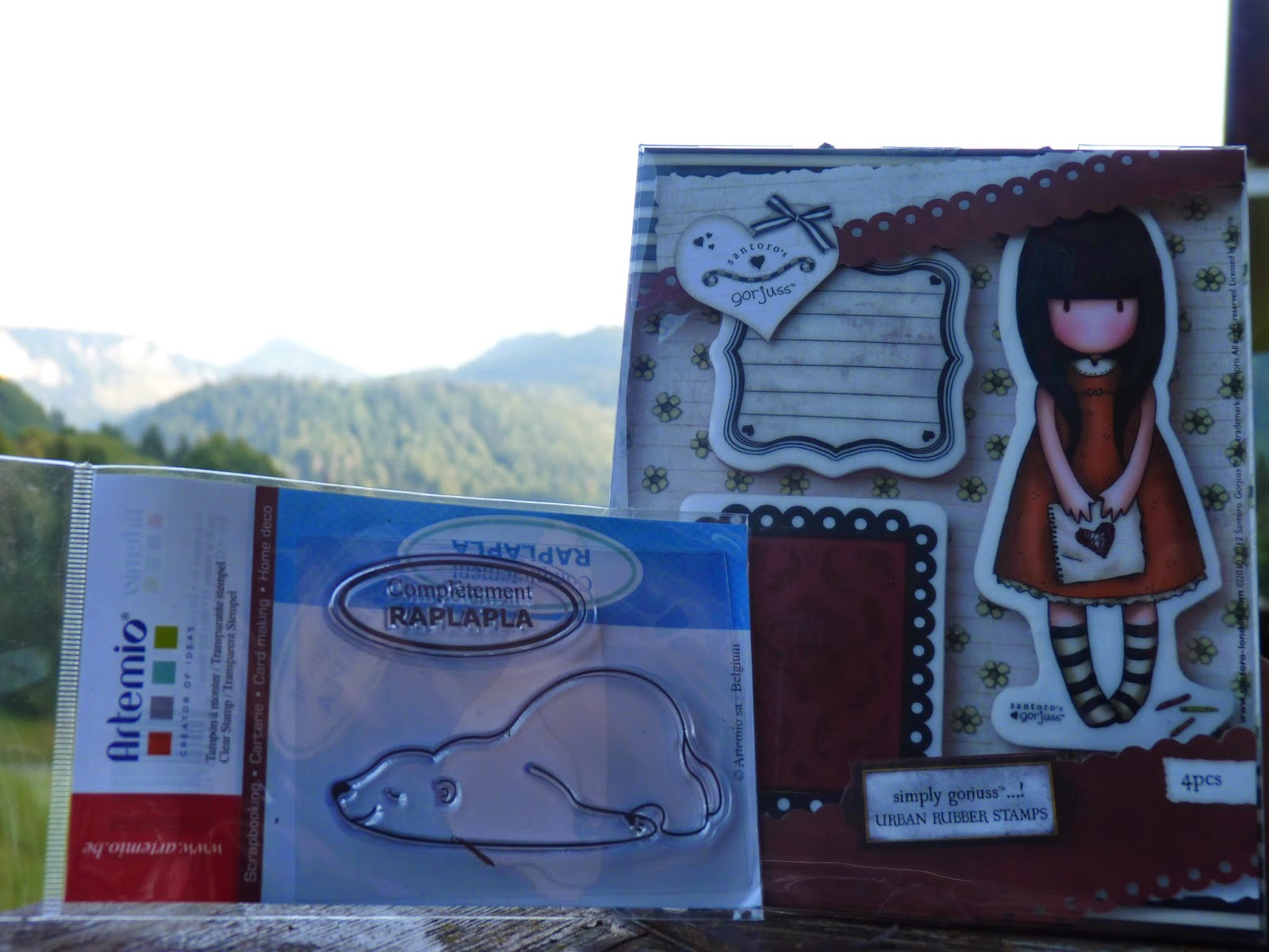 tamapon completement raplapla, tampon ours, artemio, gorjuss, journaling,cling, clear