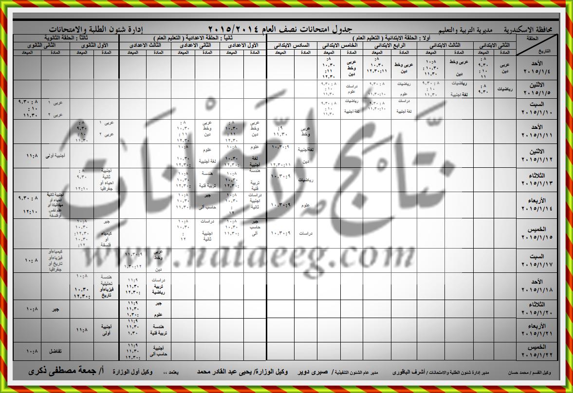 """محافظة الاسكندريه:الان جدول  امتحانات الصف الاول والثانى الثانوى 2015 """"الترم الاول"""""""