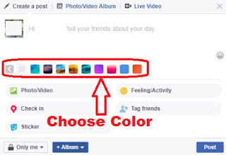 how to post color status on facebook