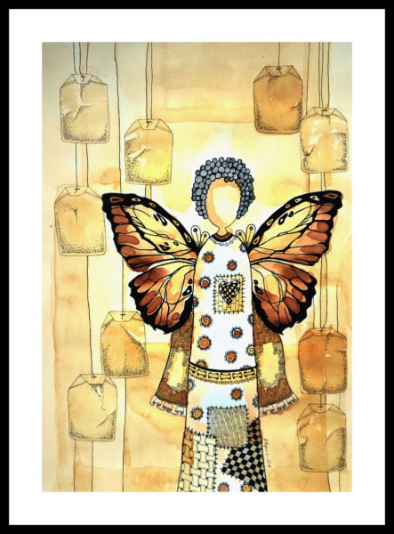 Herbaciany anioł w stylu Zentangle