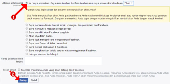alasan menonaktifkan akun facebook