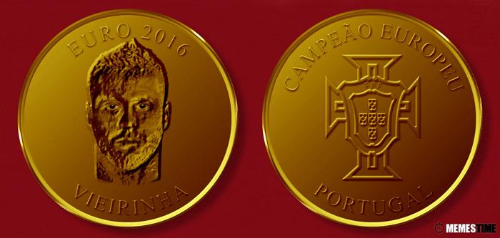 Meme com Medalha Comemorativa da Conquista do Euro 2016 pela Seleção Nacional de Portugal – Vieirinha