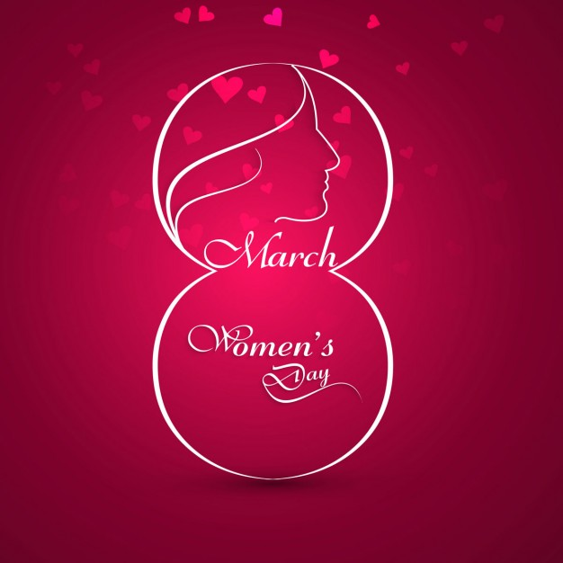 Shiny womens day card with hearts Free Vector