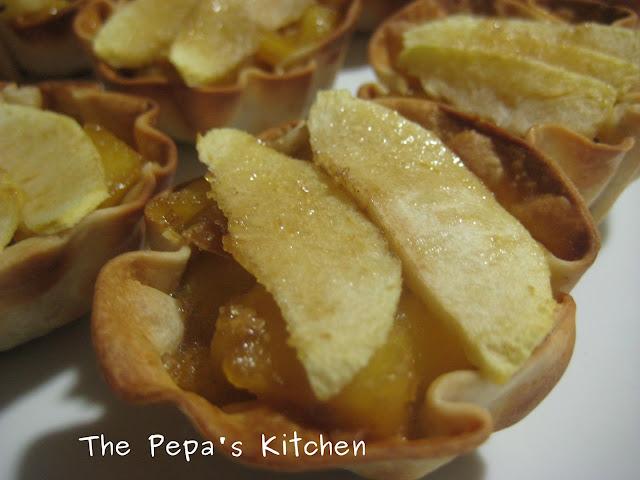 APERITIVOS Y ENTRANTES: Cestitas de Manzana y Crocanti de almendra