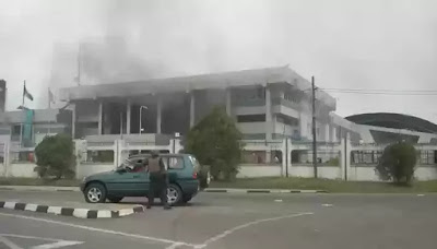 Gas explosion hits central bank of Nigeria.