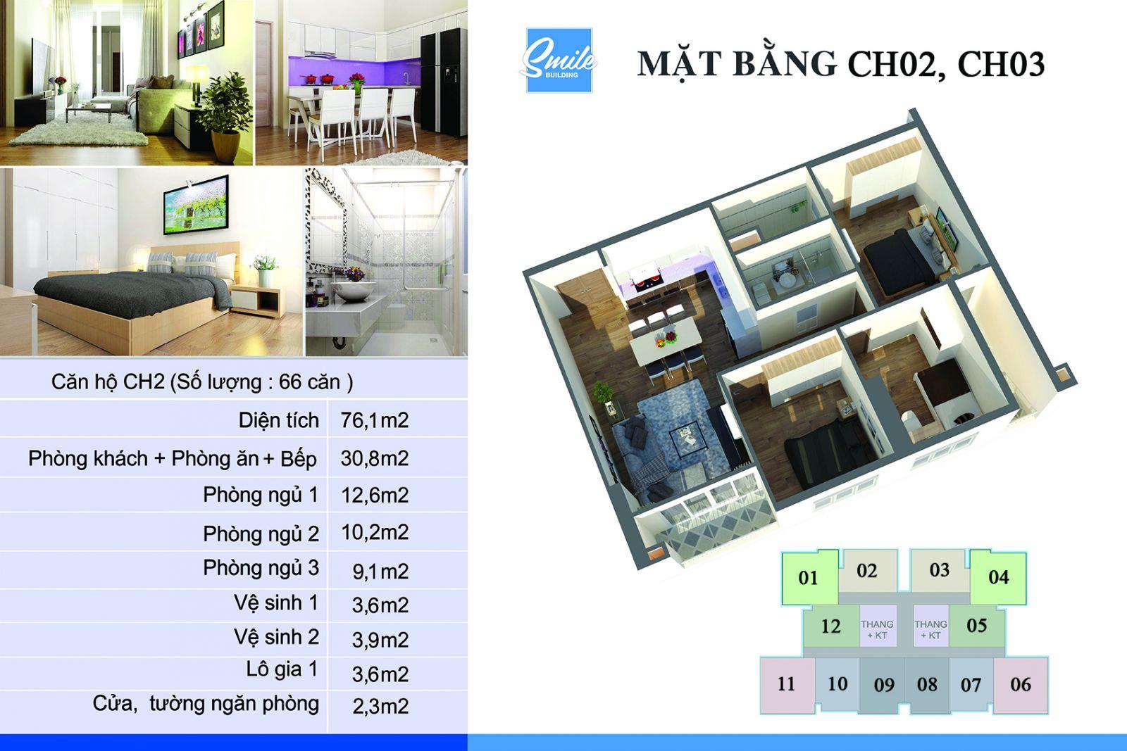 Mặt bằng căn hộ CH02 và CH03 chung cư Trung Yên