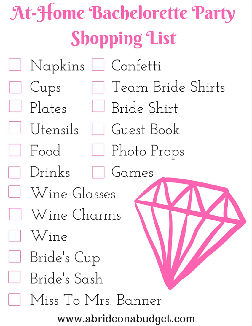 at home bachelorette party shopping list a bride on a budget