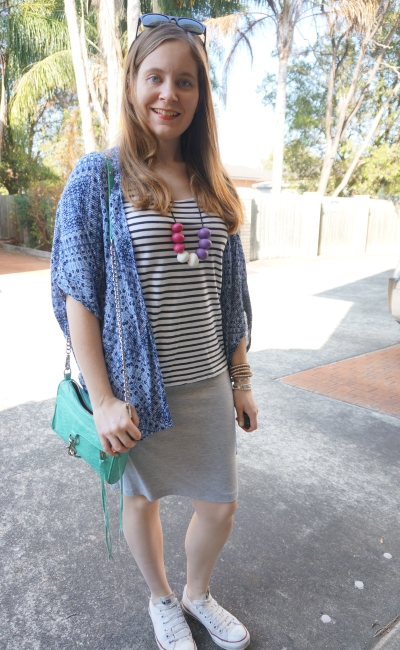 navy kimono, striped tank, grey marle jersey pencil skirt and Converse, casual SAHM Style | Away From Blue