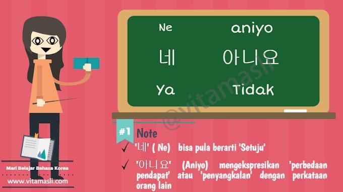 Mari Belajar Bahasa Korea Chapter 4 : Ya dan Tidak