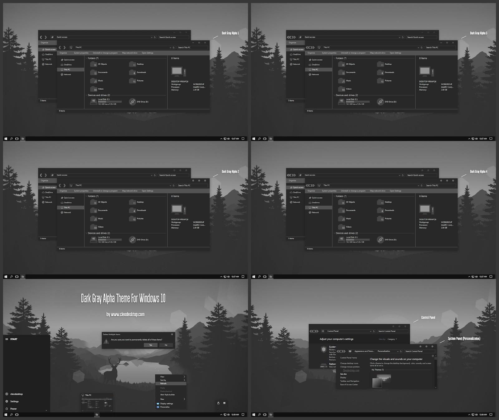 Dark Gray Alpha Theme Windows10 November 2019 Update 1909