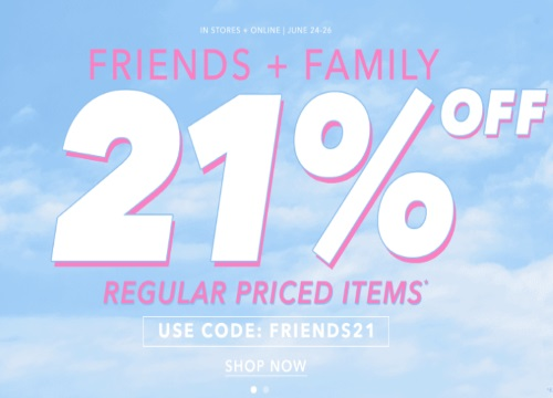 Forever 21 Friends & Family Event 21% Off Promo Code