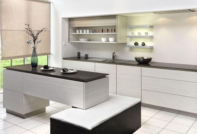 Thiết kế mẫu tủ bếp Laminate nhỏ gọn đơn giản