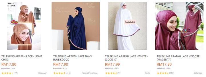 Telekung cantik lace murah