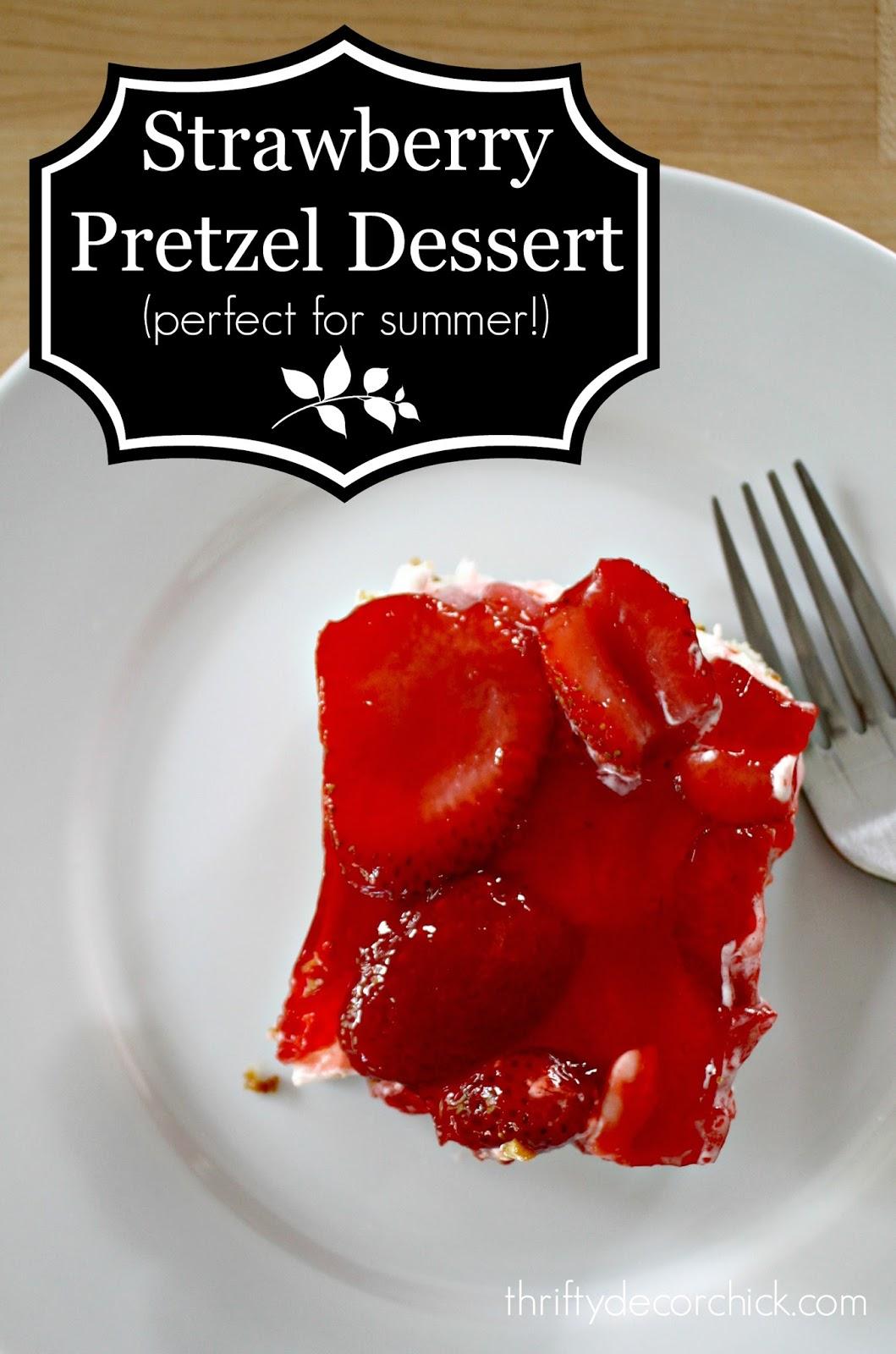 Strawberry cream cheese and pretzel dessert