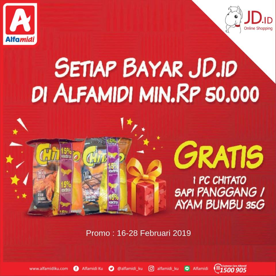 #Alfamidi - #Promo Bayar JDID Belanja Min 50K Bisa Gratis 1PC Chitato (s.d 28 Feb 2019)