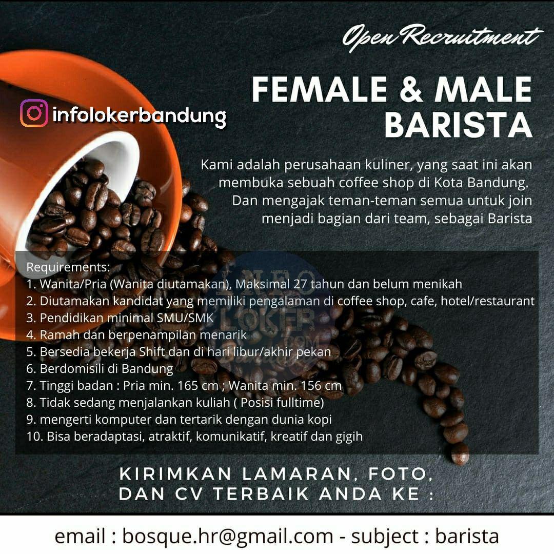 Lowongan Kerja Female & Male Barista Bandung Agustus 2018