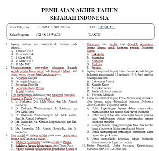Soal PAT Sejarah Indonesia Kelas 11 dan Jawabannya