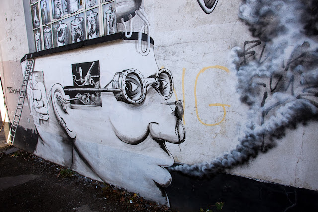 Street Art Collaboration By Phlegm And Run For Empty Walls Urban Art Festival 2013 In Cardiff, Wales. 4