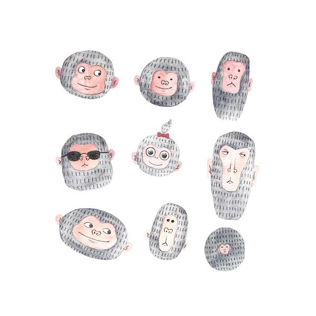 Monos, dibujo de monos, ilustración de monos, monetes, dibujo de monetes, caras de monos, caricaturas de monos, monitos, mono gracioso, Mar Villar, ay los monetes