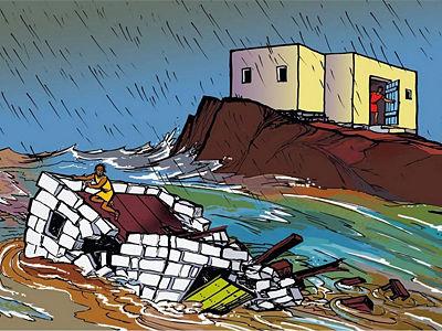 parabola de la casa sobre la roca