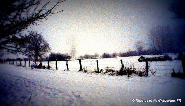 Paysage d'Auvergne sous la neige