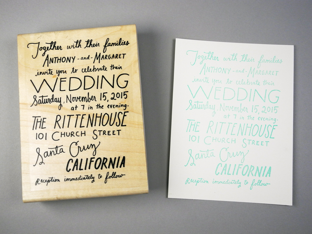 Stamps For Wedding Invitations: Hand Lettered Wedding Invitation
