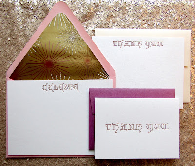 Letterpress personalized stationery set by inviting, in copper ink.