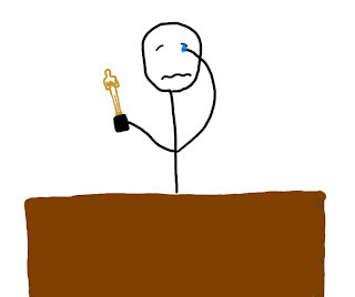 stick figure crying at podium holding award