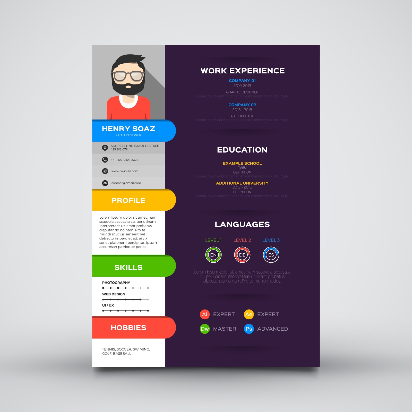 Free download template cv keren guru corel for Personal profile design templates