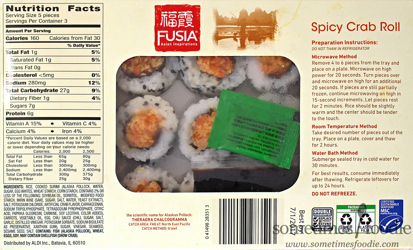 Sometimes foodie fusia spicy crab roll aldi for Frozen fish for sushi