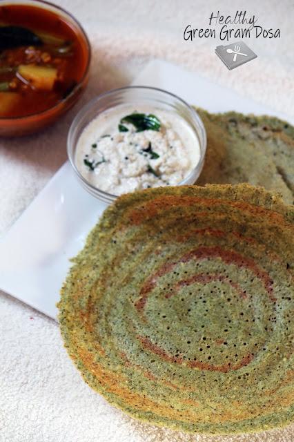 Healthy Green Gram Dosa / Cherupayar Dosa