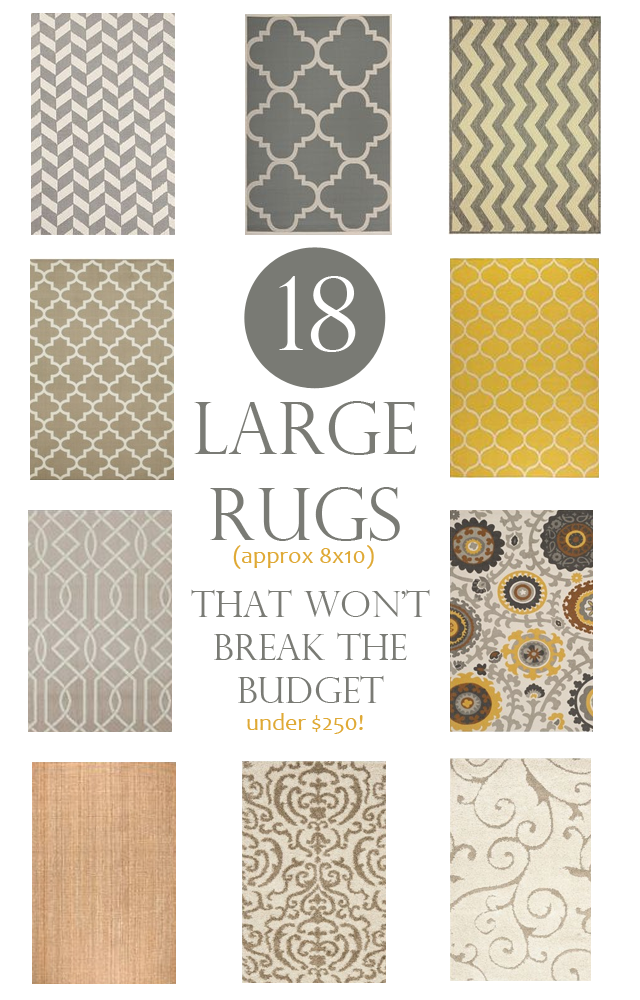 赢得的大地毯't打破预算。这些是8x10的地毯,低于250美元。甚至提供150美元的预算选项。
